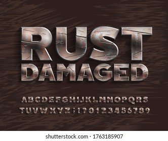 Rust Damaged alphabet font. Bold metal letters and numbers. Stock vector typescript for your design.