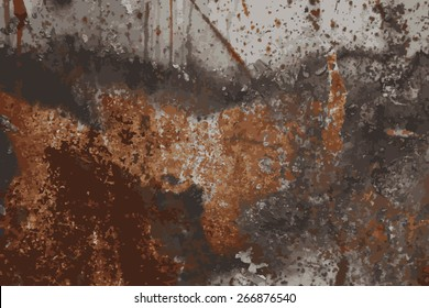rust on metal with traces of paint, vector grunge texture background