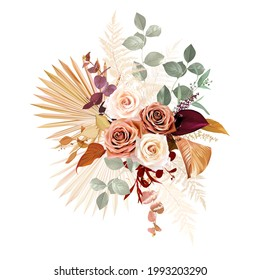 Rust orange, beige, white rose, burgundy anthurium flower, eucalyptus, pampas grass, fern, dried tropical palm leaves, sage greenery vector design wedding bouquet. Elements are isolated and editable