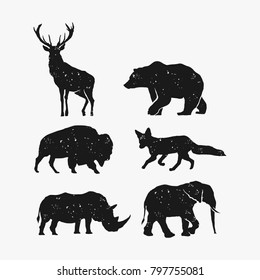Rustic animal bundle vector, bear elk bison fox rhino elephant vector, Hipster logo design element
