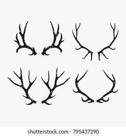 Rustic antler vector bundle isolated on white background, Handrawn antler vector illustration isolated on white background, Hunting logo design inspiration