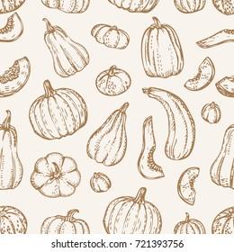 Rustic background. Autumn seamless pattern. Pumpkins texture. Vector vegetables