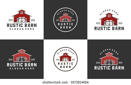 rustic barn logo design template with multi style collections