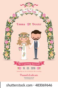 Rustic blossom flowers cartoon couple wedding invitation card on pink background