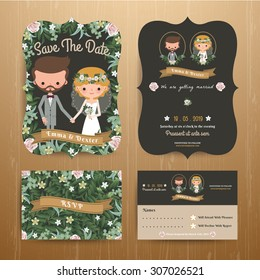 Rustic bohemian cartoon couple wedding card template set on wood background