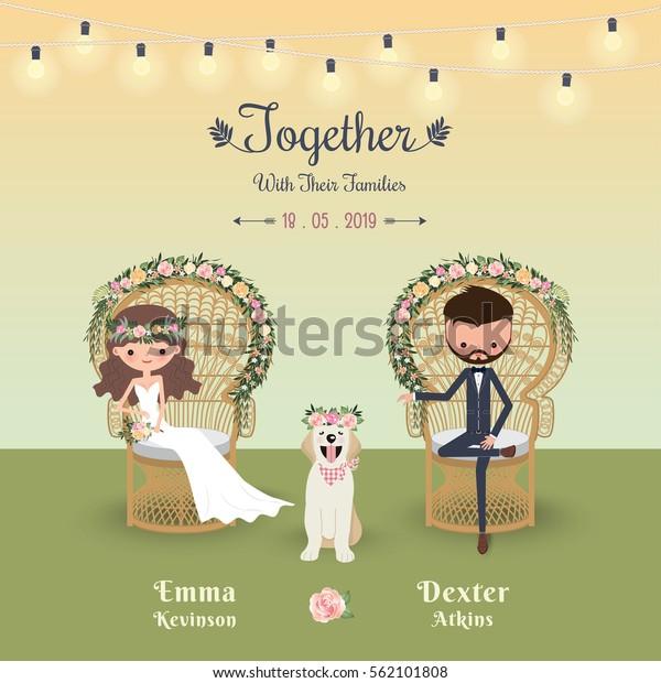Rustic bohemian cartoon couple wedding invitation card with dog, Peacock chair