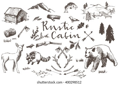 Rustic Cabin Hand Drawn Illustrations Set Including Bear, Raccoon, Deer, Lake, Fish, Mountain, Arrows, Wildflowers, Trees, Axes, Rifle, Leaves, Birds, and Log