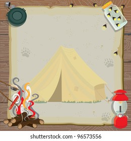 Rustic camping party invitation with an old fashioned tent, lantern, canteen, jar of fireflies and a roaring fire for roasting marshmallows and hotdogs all on old vintage paper