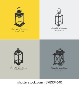 Rustic candle lantern logo set in the style of a sketch. The symbol of warmth and comfort.