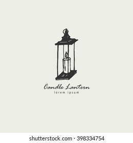Rustic candle lantern logo in the style of a sketch. The symbol of warmth and comfort.