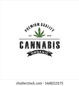 Rustic Cannabis Marijuana Logo Design / Vintage retro cannabis cultivation cbd logo With a White Background