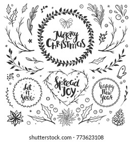 Rustic Christmas set with floral elements, hand drawn lettering and holiday wreaths. Set of vector Christmas elements