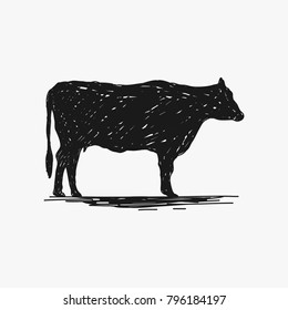 rustic cow silhouette vector isolated on white background, barbeque design element, beef design element