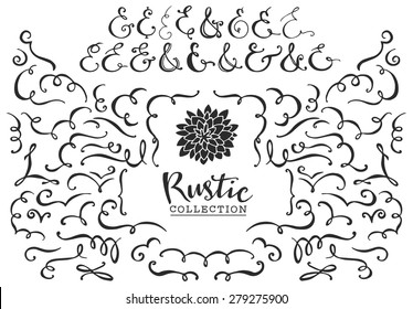 Rustic decorative curls, swirls and ampersands collection. Hand drawn vintage vector design elements.