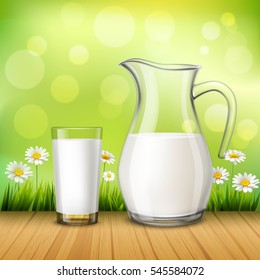 Rustic design concept in realistic style with jug and glass of milk on wood table at green background with chamomiles vector illustration
