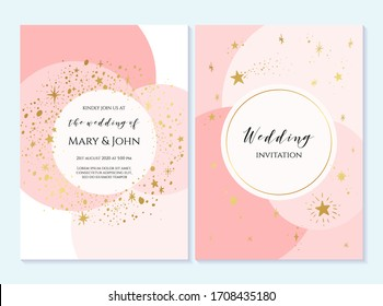 Rustic elegant wedding invitation template with gold stars. Design layout for menu, greeting card, flyer, beauty, anniversary, baby shower, bridal boho element.