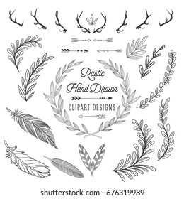 Rustic Elements Set - Hand drawn design elements. Leaves, wreaths, feathers, arrows, antlers
