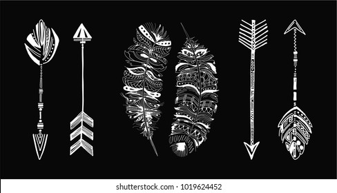 Rustic Ethnic boho style white feathers and arrows. Vintage tribal and decorative arrows and feathers. Hand drawn vintage vector set.