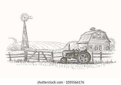 Rustic farm landscape hand drawn illustration. Vector.