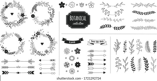 Rustic floral design elements. Hand drawn compositions with decorative flowers, herbs, leaves and branches. Vintage botanical illustrations.