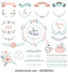Rustic hand sketched wedding elements set. Floral doodles, leaves, branches, flowers, birds, laurels, banners and frames. Good for Save the Date cards, Wedding invitations and Thank You cards.
