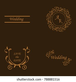 Rustic hand sketched wedding elements set. Floral doodles, branches, flowers, birds, laurels, banners and frames. Good for Save the Date cards, Wedding invitations, Thank You cards and RSVP cards.