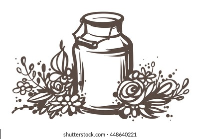 Rustic handsketched illustration of milk can and flowers, country style vector sketch. Fresh dairy farm products in the vintage aluminium jar with wooden handle and floral wreath, rural design