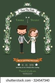 Rustic hipster cartoon couple wedding card on green background