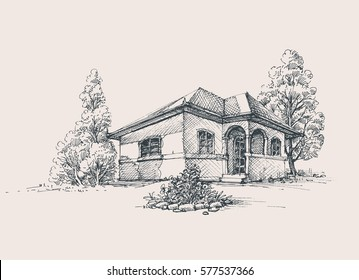 Rustic house exterior sketch