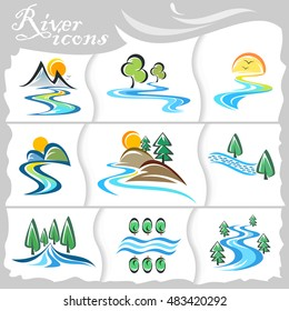 Rustic icons of streaming rivers and mountains
