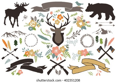 Rustic Illustrations - Set of Hand Drawn Vectors Including Flowers, Moose, Bear, Axes, Mountains, Arrows, Feathers, Mountain and Stag