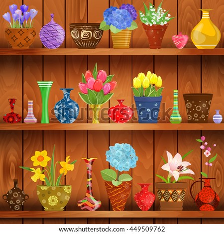 Rustic Interior Glass Vases Flowers Planted Stock Vector Royalty