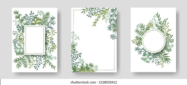 Rustic invitation cards with herbal twig branches wreath and corners border frames. Rustic vintage bouquets with fern fronds, mistletoe twigs, dandelions, olive, willow, palm branches in green colors.