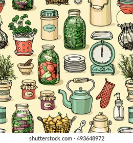 Rustic kitchen vector seamless pattern. Colorful cooking items background. Hand-drawn kitchenware template for design