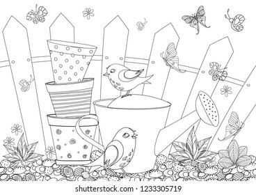 rustic landscape with gardening equipment  and cute birds for your coloring book