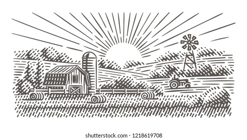 Rustic Landscape illustration. Vector, isolated.