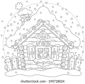 Rustic log house covered with snow on Christmas