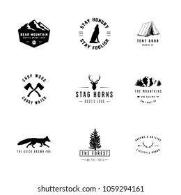 Rustic Logos - Set of 9 rustic logo templates. Designs for the outdoors and nature