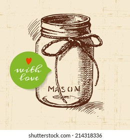 Rustic mason canning jar. Vintage hand drawn sketch design. Vector illustration