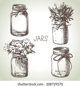 Rustic, mason and canning jars hand drawn set. Sketch design elements. Vector illustrations