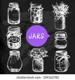Rustic, mason and canning jars hand drawn set. Sketch design elements. Vector illustrations. Blackboard design