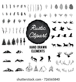 Rustic Nature Clip art - Vector hand drawn illustrations of the outdoors, plants and animals.