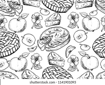 Rustic pattern. Hand drawn apples, apples slices, apple blossom, apple pie, vector seamless background.