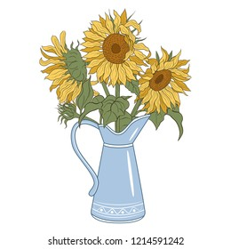 Rustic pitcher vase with a bouquet of sunflowers. French Style.