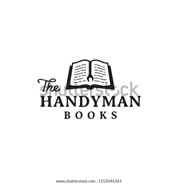 Rustic Retro Logo Design Handyman Book Stock Vector (Royalty