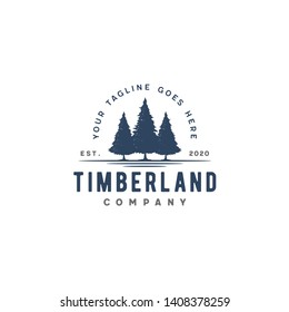Rustic Retro Vintage Evergreen, Pine, Spruce, Cedar Hemlock trees logo design