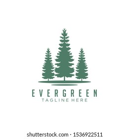 Rustic Retro Vintage Evergreen, Pines, Spruce, Cedar trees logo design
