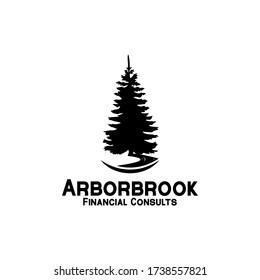 Rustic Retro Vintage pine, evergreen, fir, hemlock, spruce, conifer, cedar, coniferous, cypress, larch, pinus trees logo design