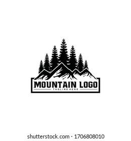 Rustic Retro Vintage pine and mountain, evergreen, fir, hemlock, spruce, conifer, cedar, coniferous, cypress, larch, pinus trees logo template