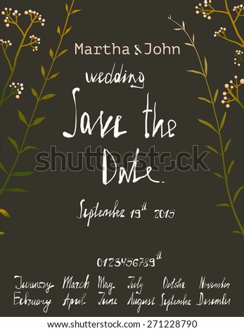 rustic save date invitation card template stock vector royalty free